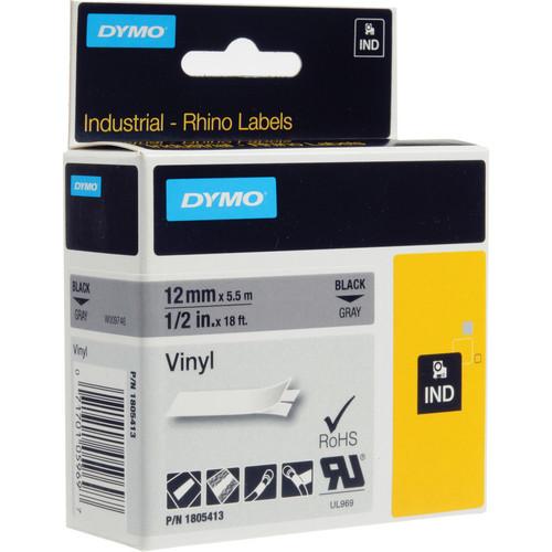 "Dymo Rhino 1/2"" Gray Vinyl Labels (Black Print)"