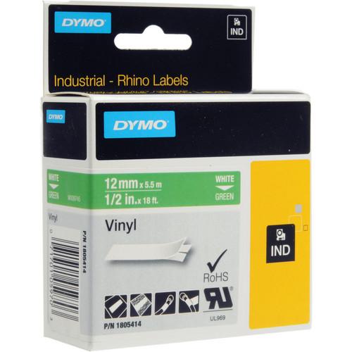 "Dymo Rhino 1/2"" Green Vinyl Labels (White Print)"