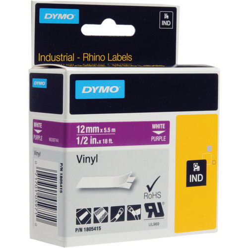 "Dymo Rhino 1/2"" Purple Vinyl Labels (White Print)"
