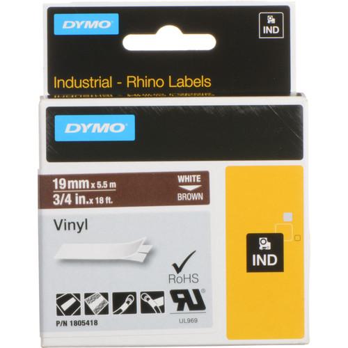 "Dymo Rhino 3/4"" Brown Vinyl Labels (White Print)"