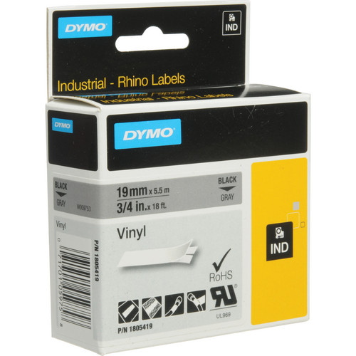 "Dymo Rhino 3/4"" Gray Vinyl Labels (White Print)"