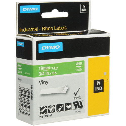"Dymo Rhino 3/4"" Green Vinyl Labels (White Print)"