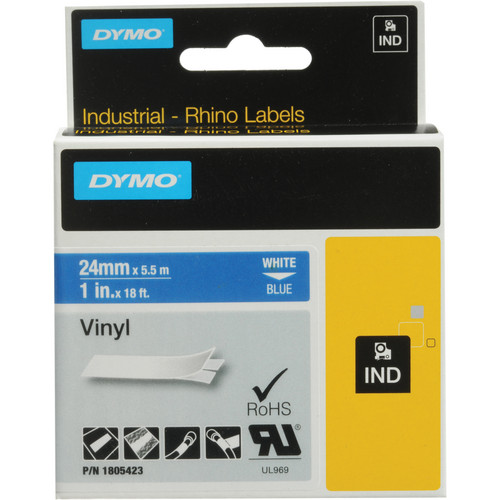 "Dymo Rhino 1.0"" Blue Vinyl Labels (White Print)"