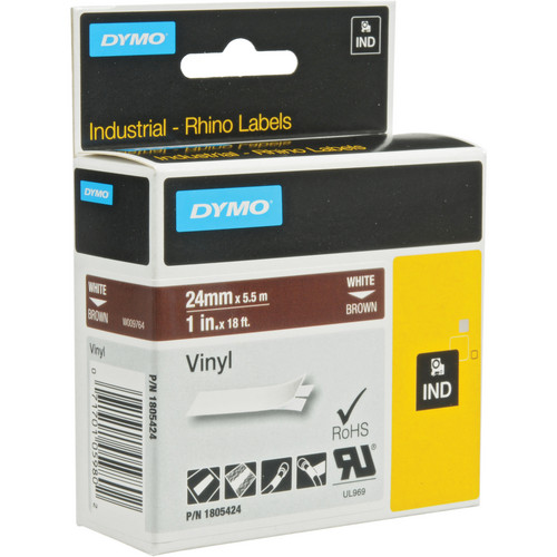 "Dymo Rhino 1.0"" Brown Vinyl Labels (White Print)"