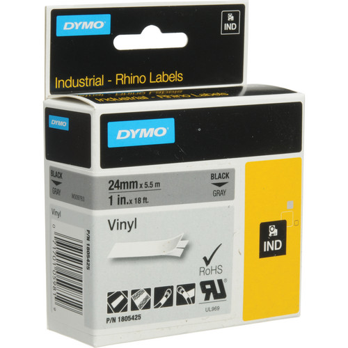 "Dymo Rhino 1.0"" Gray Vinyl Labels (White Print)"