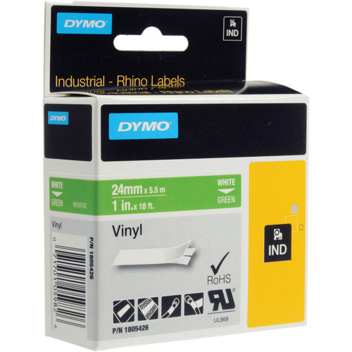 "Dymo Rhino 1.0"" Green Vinyl Labels (White Print)"