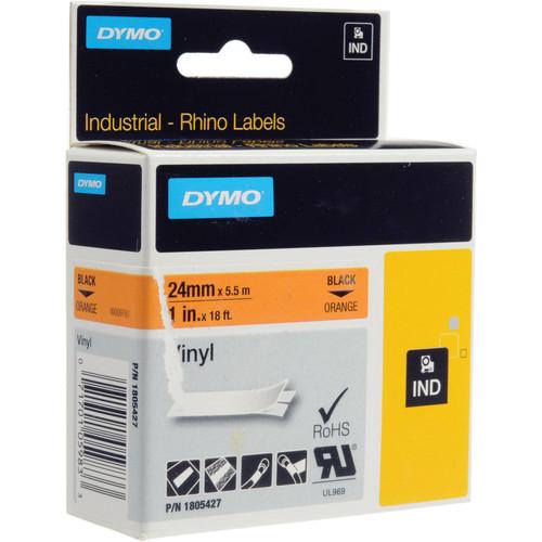 "Dymo Rhino 1.0"" Orange Vinyl Labels (White Print)"