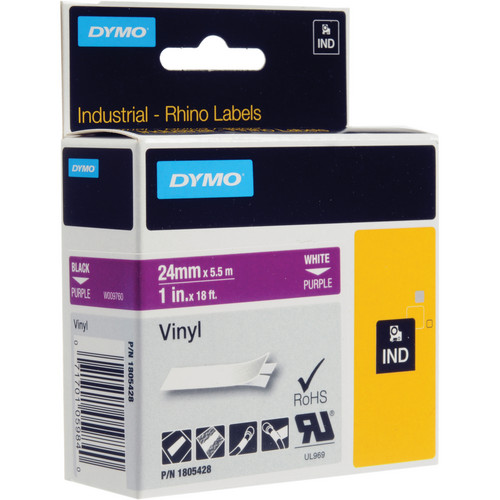 "Dymo Rhino 1.0"" Purple Vinyl Labels (White Print)"