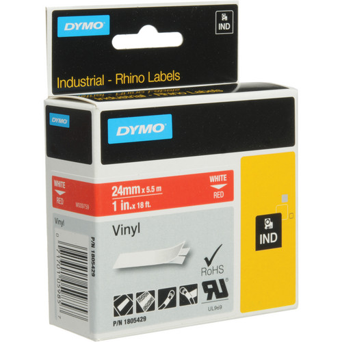 "Dymo Rhino 1.0"" Red Vinyl Labels (White Print)"