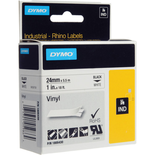 "Dymo Rhino 1.0"" White Vinyl Labels (Black Print)"