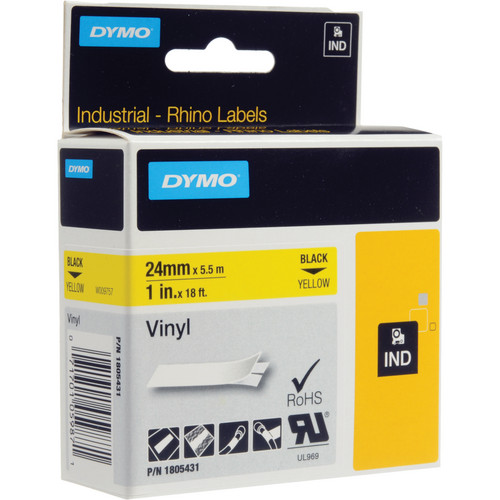 "Dymo Rhino 1.0"" Yellow Vinyl Labels (Black Print)"