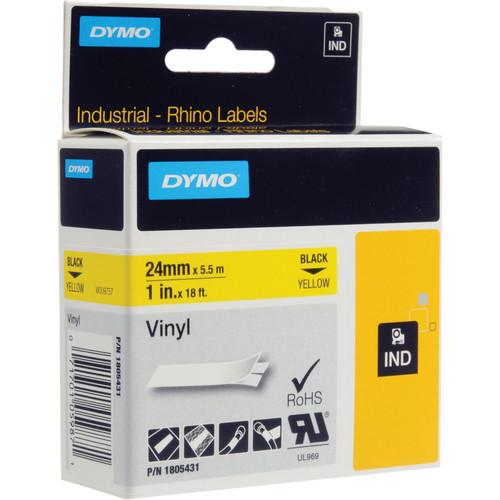 "Dymo Rhino 1.0"" Yellow Vinyl Labels (Black Print)"