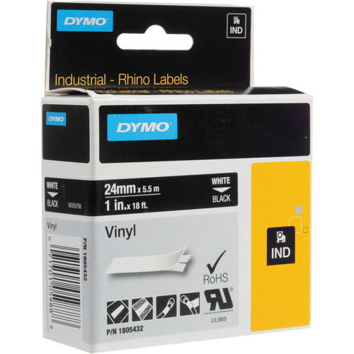 "Dymo Rhino 1.0"" Black Vinyl Labels (White Print)"