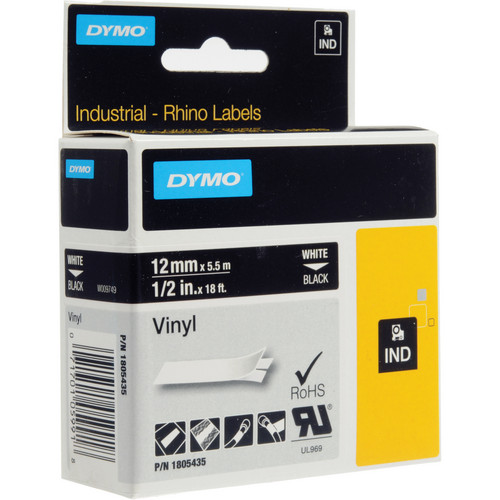 "Dymo Rhino 1/2"" Black Vinyl Labels (White Print)"