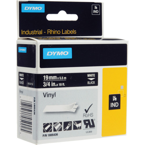 "Dymo Rhino 3/4"" Black Vinyl Labels (White Print)"
