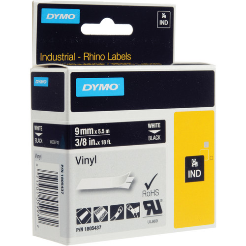 "Dymo Rhino 3/8"" Black Vinyl Labels (White Print)"