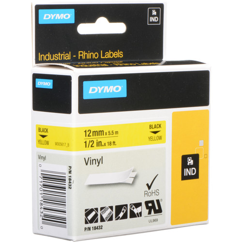 "Dymo 1/2"" (1.3cm) Vinyl Label Tape for RHINO Series Label Printers (Yellow)"