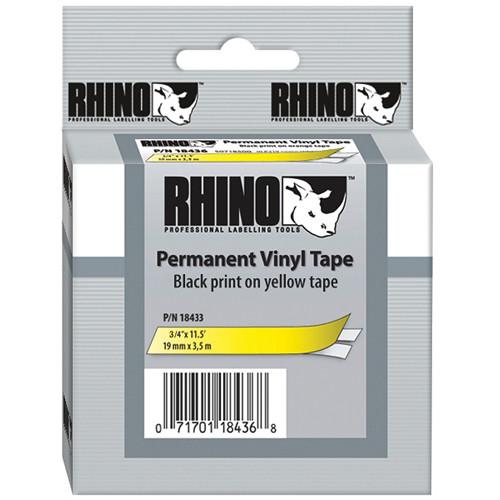 "Dymo Rhino 3/4"" Yellow Vinyl Labels (Black Print)"