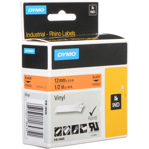 "Dymo Rhino 1/2"" Orange Vinyl Labels (Black Print)"
