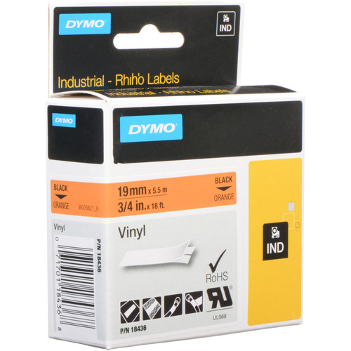 "Dymo Rhino 3/4"" Orange Vinyl Labels (Black Print)"