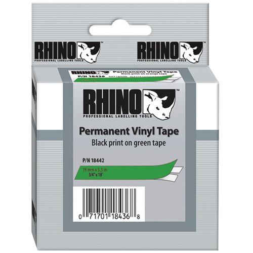"Dymo Rhino 3/4"" Green Vinyl Labels (Black Print)"