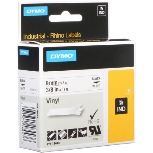 "Dymo Rhino 3/8"" White Vinyl Labels (Black Print)"