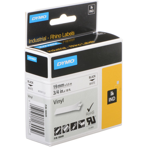 "Dymo Rhino 3/4"" White Vinyl Labels (Black Print)"