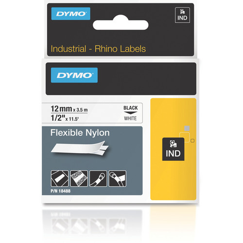 "Dymo Rhino 0.5"" White Flexible Nylon Tape"