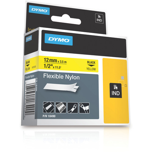"Dymo Rhino 0.5"" Yellow Flexible Nylon Tape"