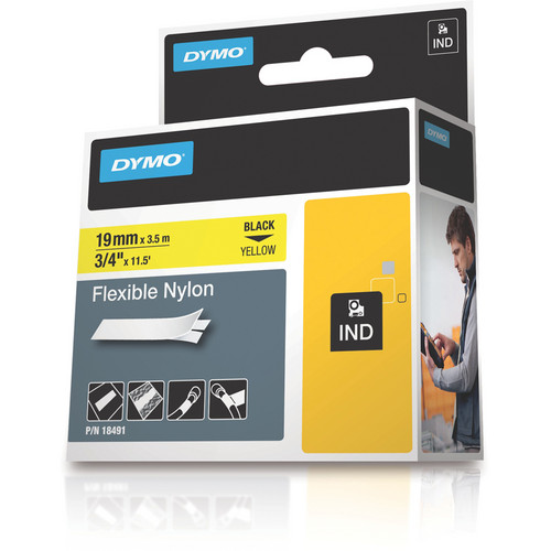 "Dymo Rhino 3/4"" Yellow Flexible Nylon Tape"
