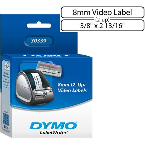 "Dymo White 2-Up 8mm Video Labels (3/8 x 2 13/16"")"