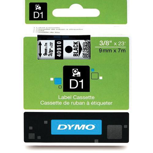 "Dymo Standard D1 Labels (Black Print, Clear Tape - 3/8"" x 23')"
