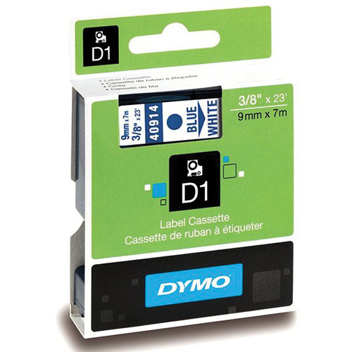 "Dymo Standard D1 Labels (Blue Print, White Tape - 3/8"" x 23')"