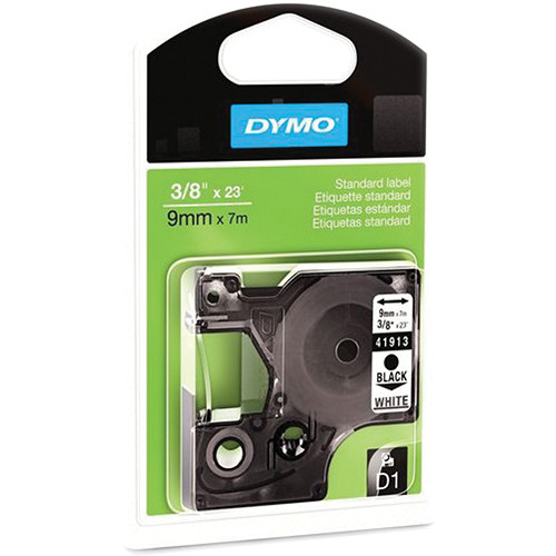 "Dymo Standard D1 Labels (Black Print, White Tape - 3/8"" x 23')"