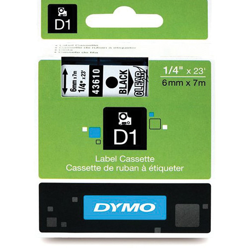 "Dymo Standard D1 Labels (Black Print, Clear Tape - 1/4"" x 23')"