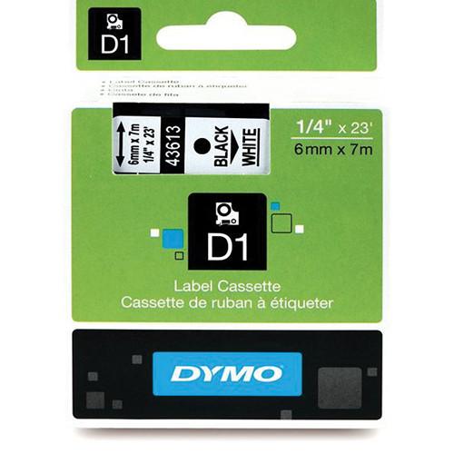 "Dymo Standard D1 Labels (Black Print, White Tape - 1/4"" x 23')"