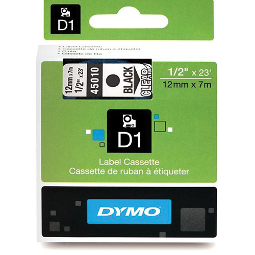 "Dymo Standard D1 Labels (Black Print, Clear Tape - 1/2"" x 23')"