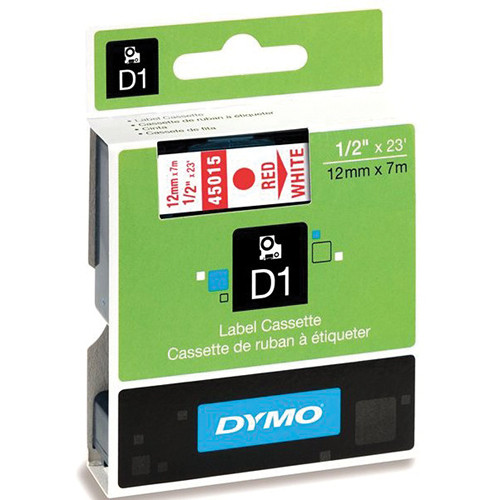 "Dymo Standard D1 Labels (Red Print, White Tape - 1/2"" x 23')"