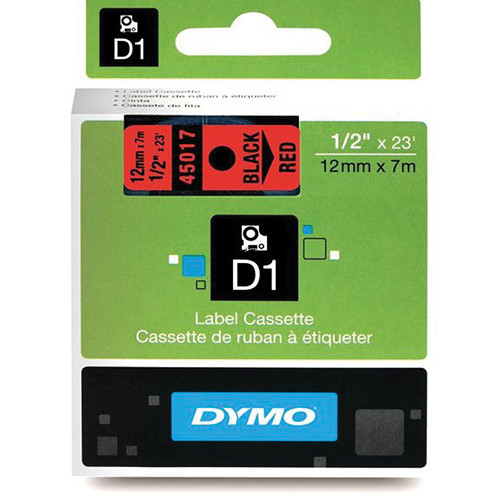 "Dymo Standard D1 Labels (Black Print, Red Tape - 1/2"" x 23')"