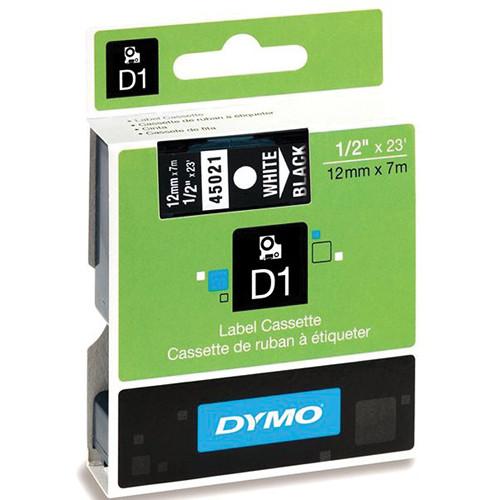 "Dymo Standard D1 Labels (White Print, Black Tape - 1/2"" x 23')"