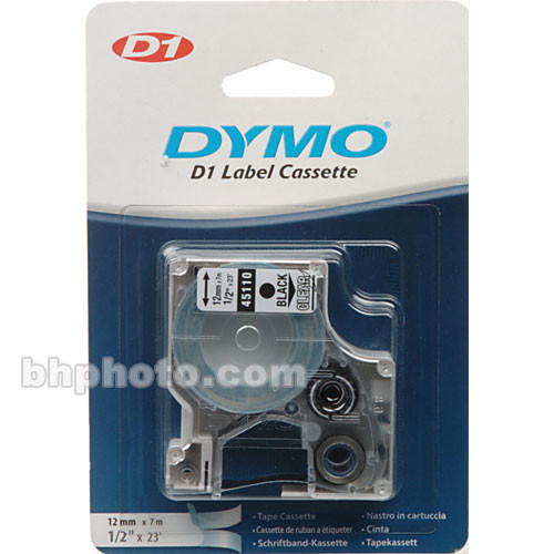 "Dymo 45110 D1 Tape Cassette (Black Print, Clear Tape - 1/2"" x 23')"
