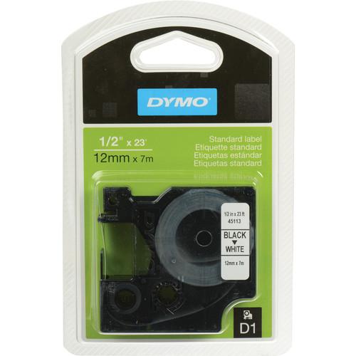 """Dymo 45113 D1 Tape Cassette (Black Print, White Tape - 1/2"""" x 23')"""