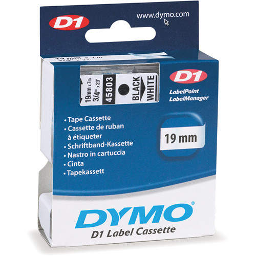 "Dymo Standard D1 Tape (Black on White, 3/4"" x 23')"