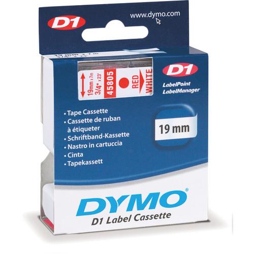 "Dymo Standard D1 Tape (Red on White, 3/4"" x 23')"