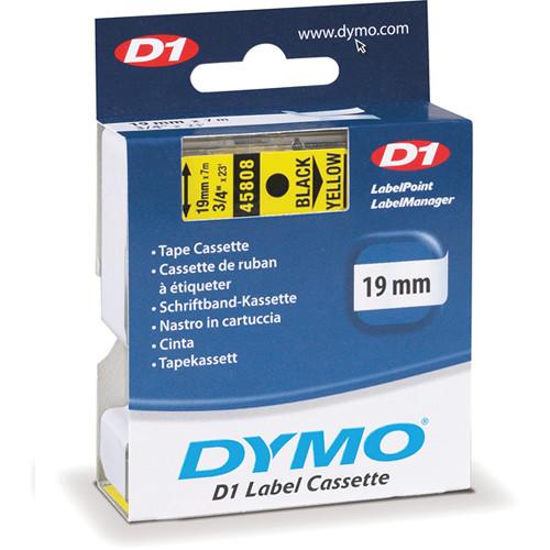"Dymo Standard D1 Tape (Black on Yellow, 3/4"" x 23')"