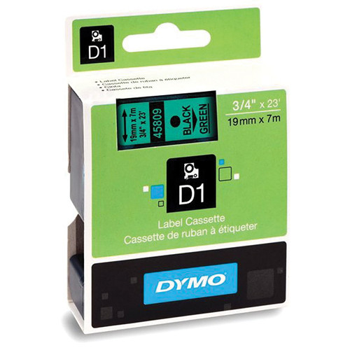 "Dymo Standard D1 Tape (Black on Green, 3/4"" x 23')"