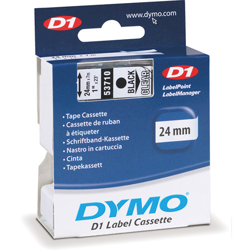 "Dymo Standard D1 Labels (Black Print, Clear Tape - 1"" x 23')"