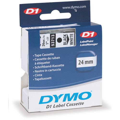 "Dymo Standard D1 Labels (Black Print, White Tape - 1"" x 23')"