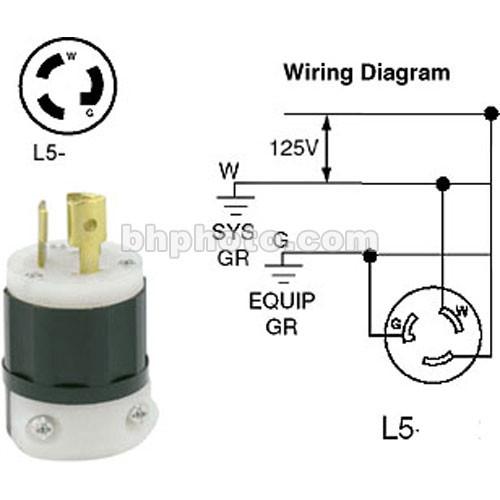 ETC Twist-Lock (LR5-15P) Connector, Black, Male - 20 Amps