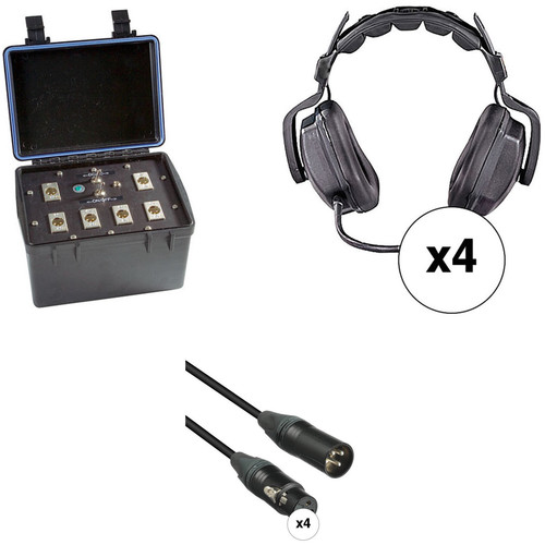 Eartec Four-Person Wired Intercom System with Dual-Sided Headsets (TCS)